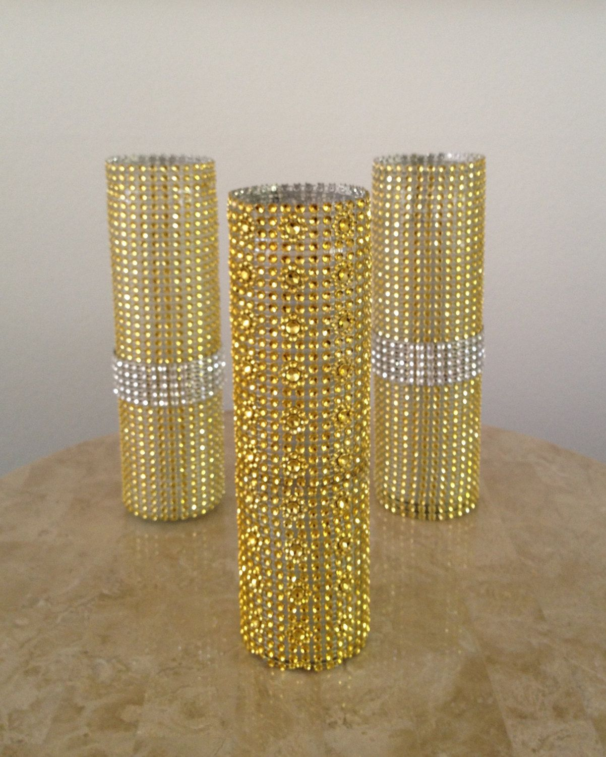 Bling Wedding Decor Crystal Centerpieces Rhinestone Candles And Vases Can Use Gold Paper Too
