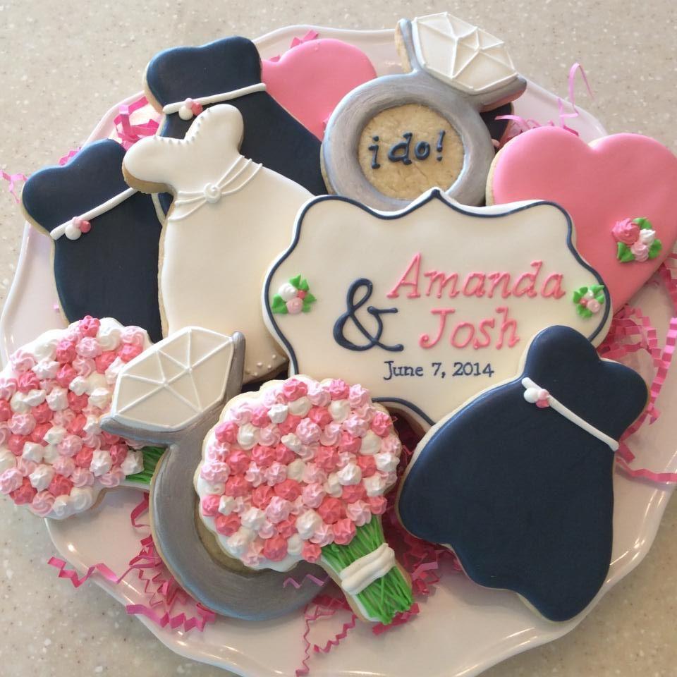 Navy and Pink Wedding Shower Cookies. | Anniversary/Wedding Cookies ...