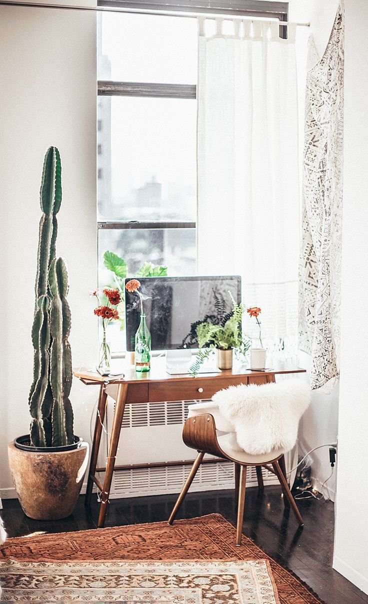 Modern Desk Chair With Faux Fur And Small Wooden Desk With Tall Potted Cactiu2026Beautiful  Minimal Home Office Spaces And Home Organisation.