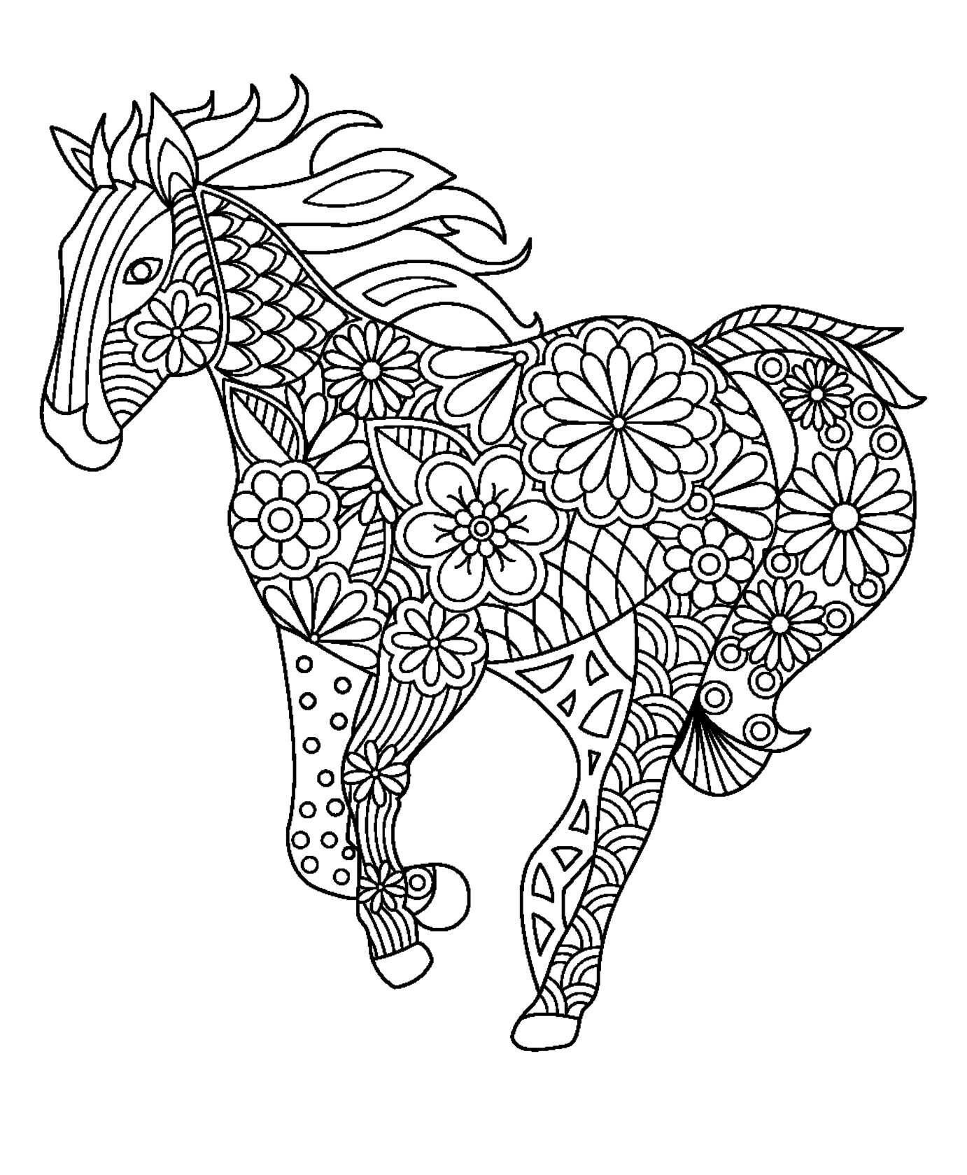 zentangle horse coloring pages - horse zentangle doodle black white animals art
