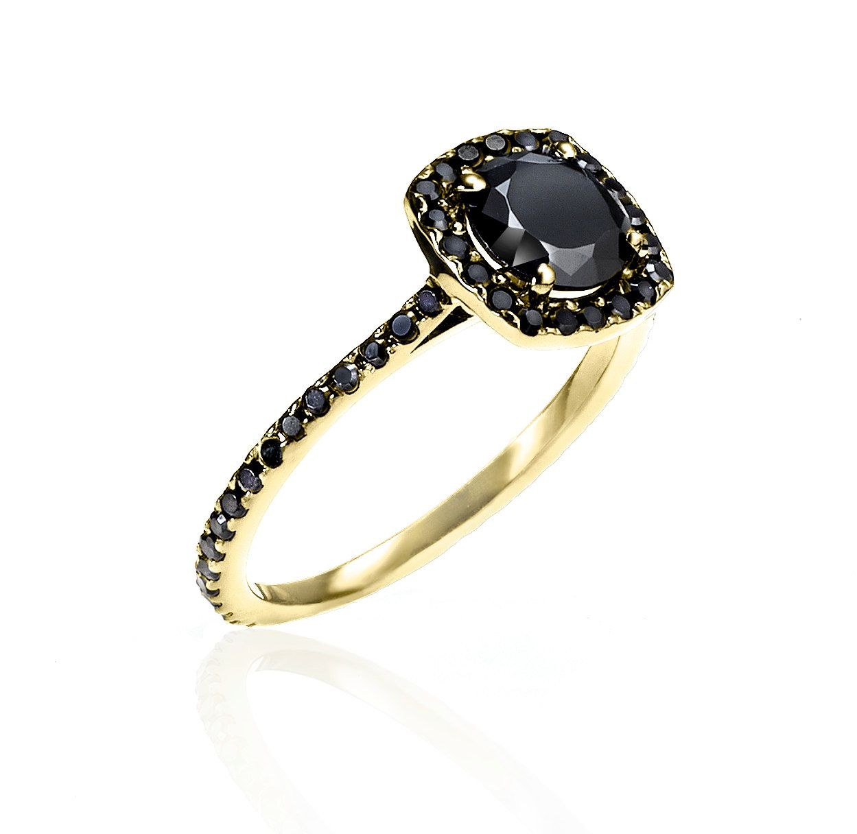Almost Eternity Yellow Gold & Black Diamond Ring by IzandCo on Etsy https://www.etsy.com/listing/158439948/almost-eternity-yellow-gold-black