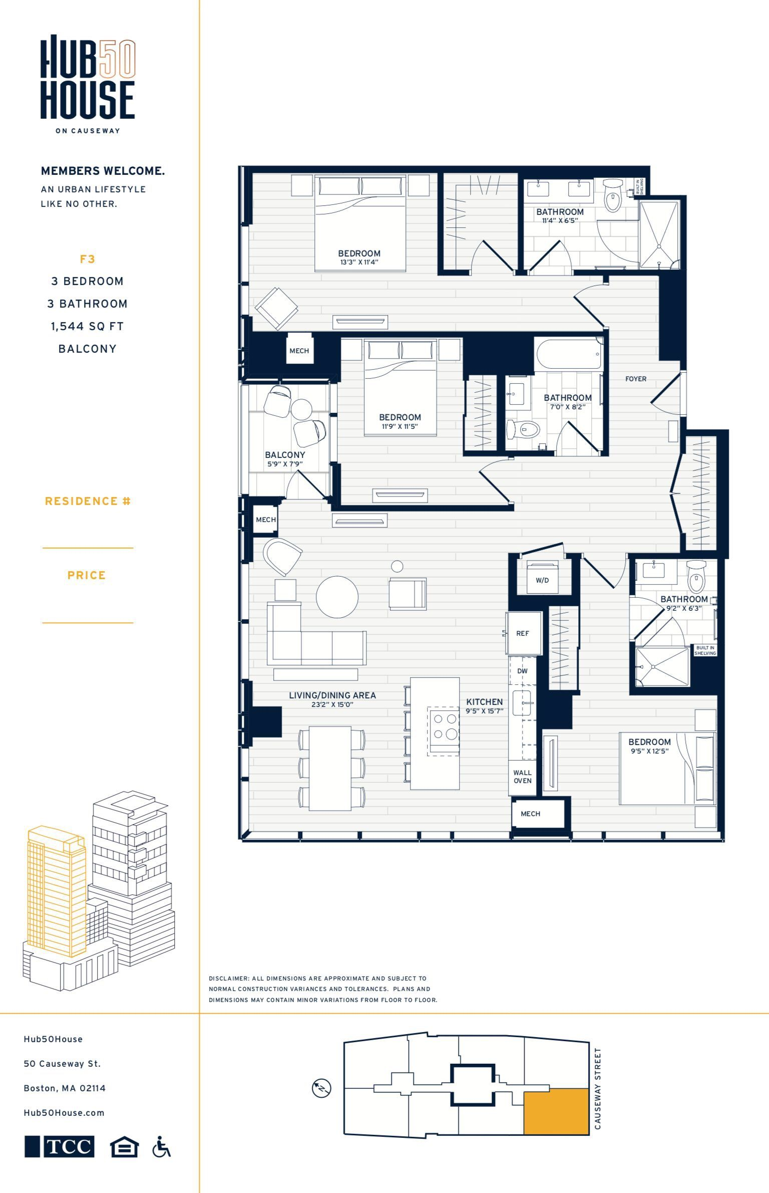 Hub 50 House On Causeway Boston 3 Bedroom Residence Condo Floor Plans Penthouse Apartment Floor Plan Floor Plans