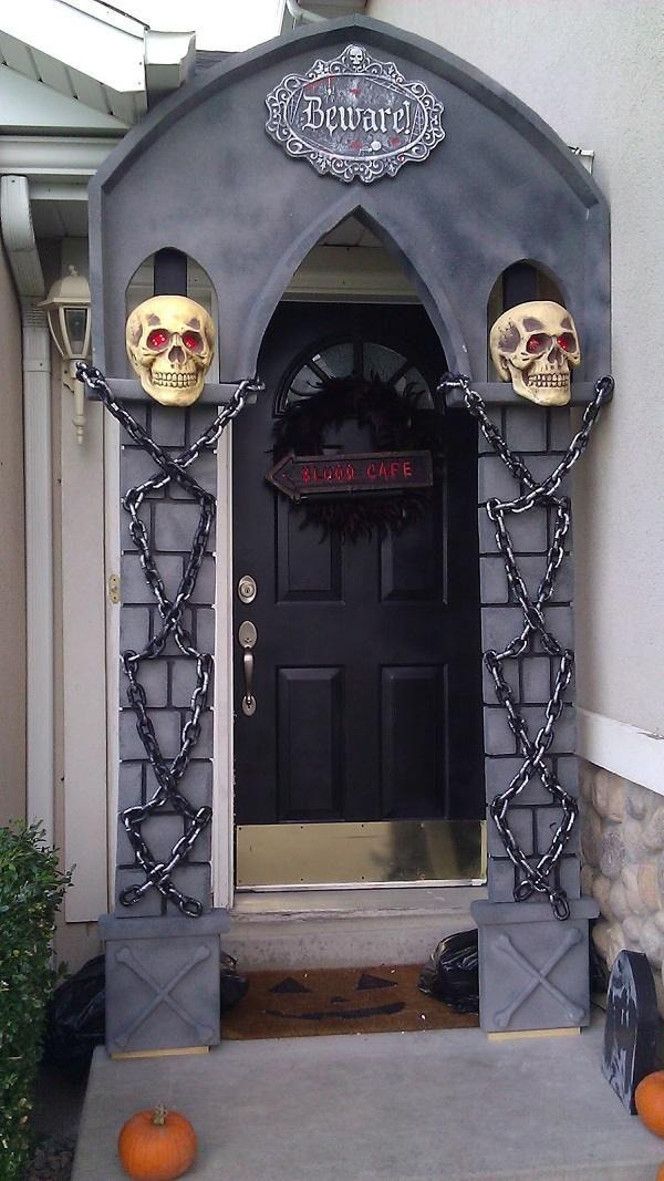 halloween decorating ideas front door decoration halloween props arch skulls chains