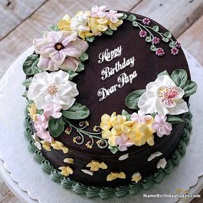 The Name Dear Papa Is Generated On Top Pretty Birthday Cake