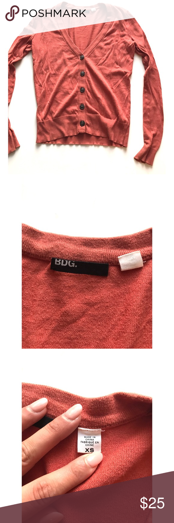 BGE burnt orange/ pink button up cardigan | Orange pink, Burnt ...