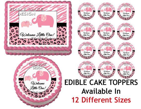 Pink Safari Baby Shower Cake | SWEET SAFARI Pink Baby Shower Edible Cake  Image Cupcake Topper