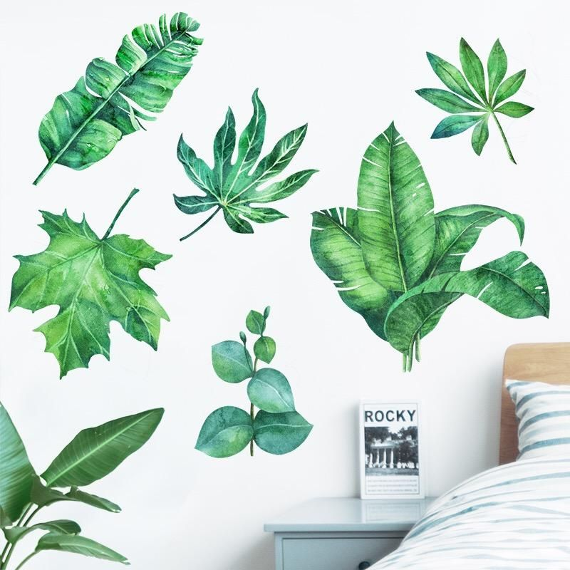 Tropical Plant Wall Decals Green Wall Decor Floral Wall Decals Diy Wall Art Decor