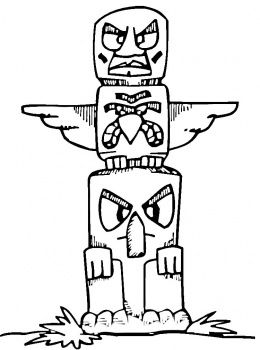 indian totem pole coloring pages | free printable totem pole | Totem coloring page | Super ...