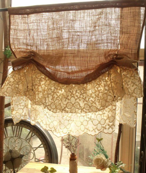 Washed SOFT Burlap With Lace Tie Up Curtain Shabby French