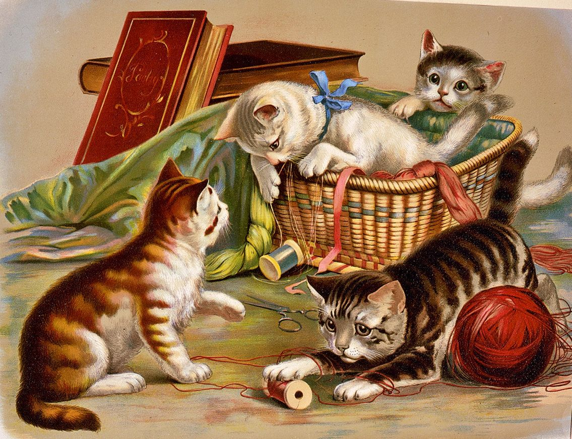 Vintage Cats Sewing Basket Advertising Poster Late 1800s Era High Quality Print Oversized 13x19 Giclee Cat Art Print Cat Posters Cat Art