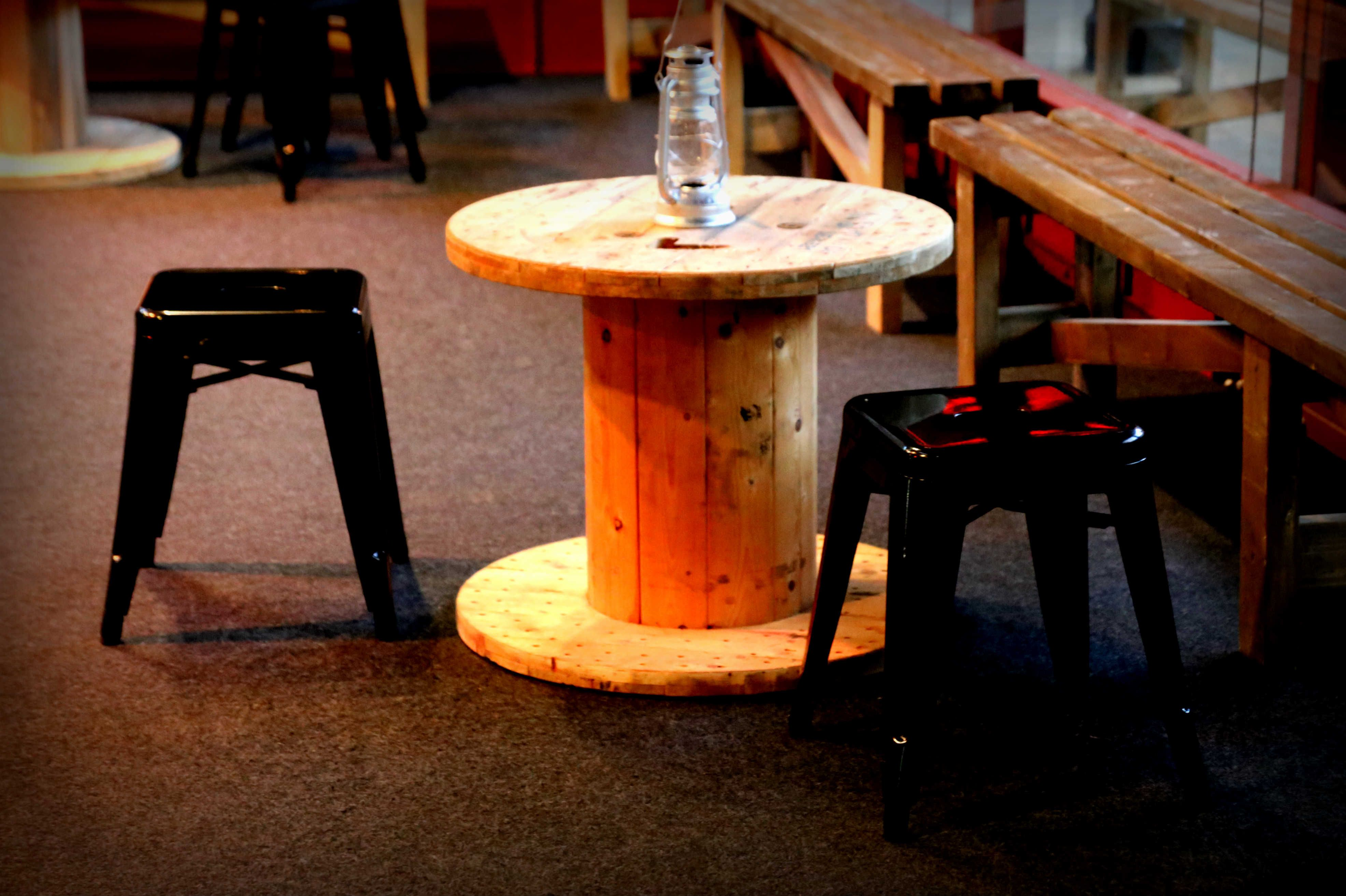 Industrial Stools and Table #Furniture #Ideas #Inspiration #Decor #Design #Reclaimed #Hire #London #TobaccoDock