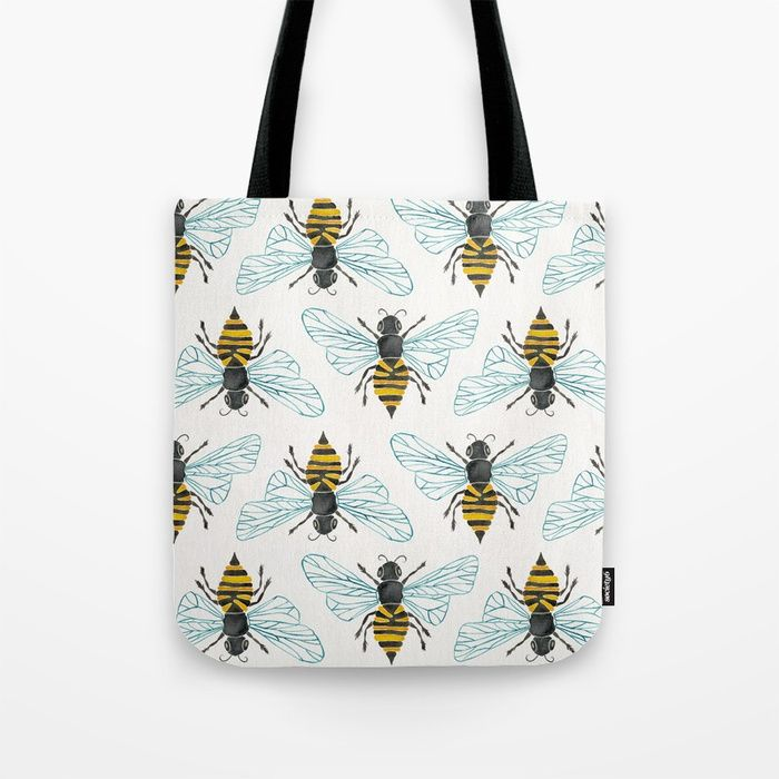 Buy Honey Bee Tote Bag by catcoq. Worldwide shipping available at  Society6.com. Just one of millions of high quality products available. 5a5c15f4aec5d