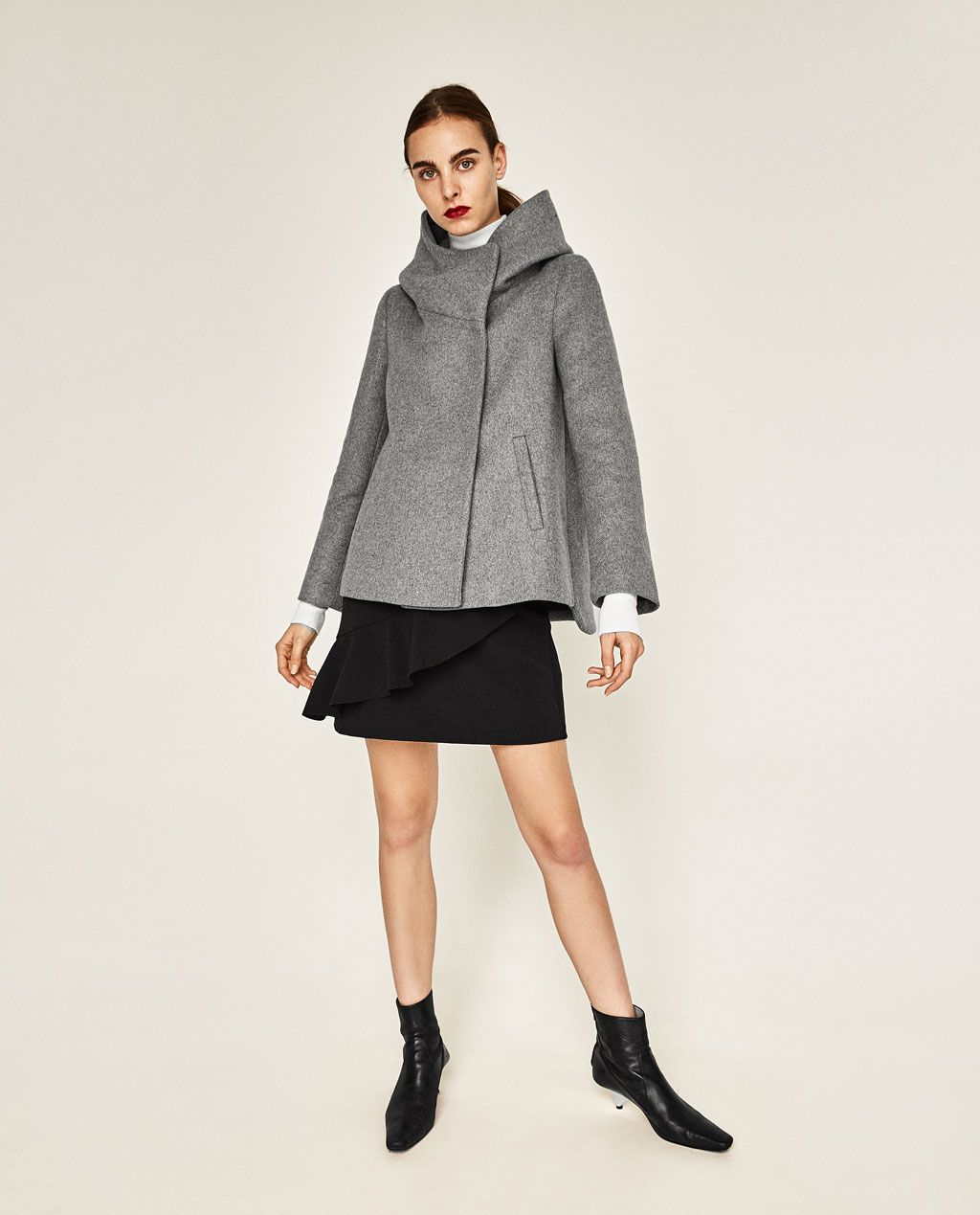 6cb097a5c1 SHORT COAT WITH WRAPAROUND COLLAR-NEW IN-WOMAN | ZARA United States ...