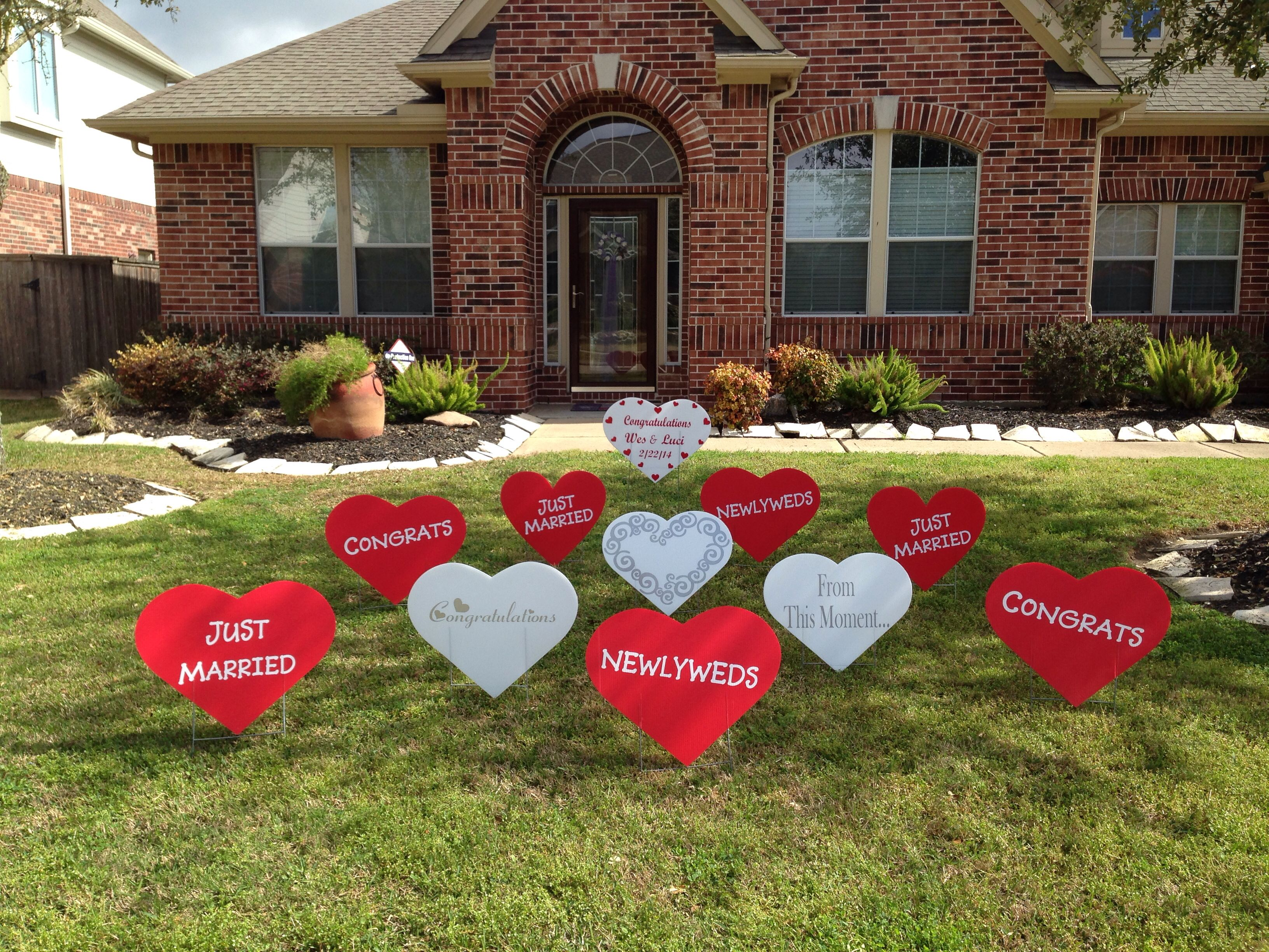 Newlywed Decorations Yard Display To Welcome The Couple Home From Their Honeymoon From Www