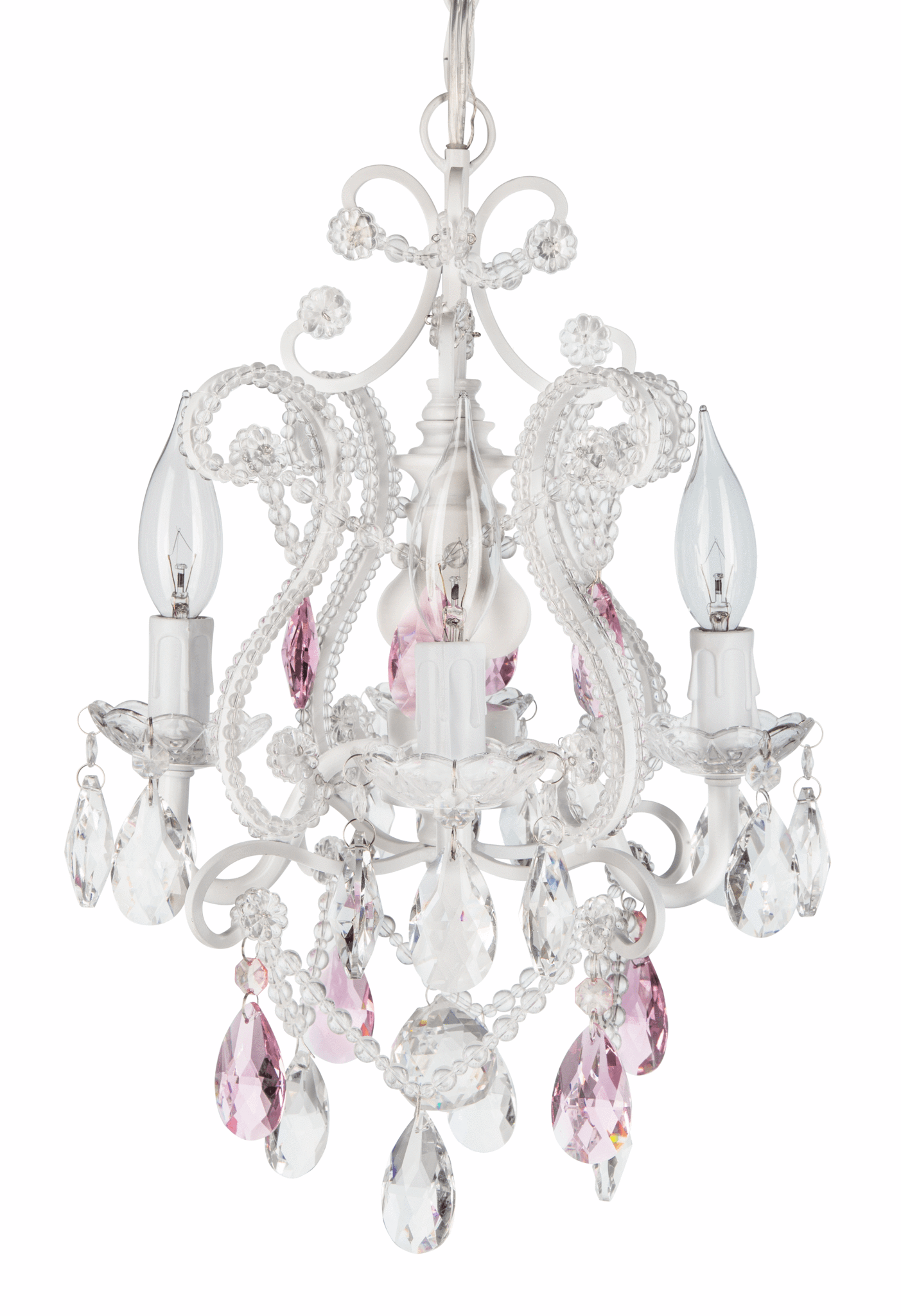 4 Light Mini Crystal Beaded Plug In Chandelier White w Pink