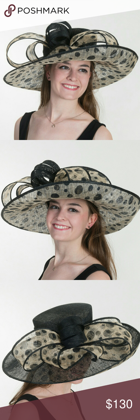 Black Natural Wide Derby Church Wedding Hat Brand new hat from manufacturer.  A beautiful hat for all your elegant occasions. Wear to Church, Weddings or your favorite Derby.  Side Sweep Polkadot Sinamay Hat Color: Natural/Black Material: Printed Sinamay Head Size: 22.5 inch. Crown Width: 8 inch. Crown Height: 4.5 inch. Brim Width: 7.5 ~ 5 inch. SKU:?116030-12.80 Accessories Hats