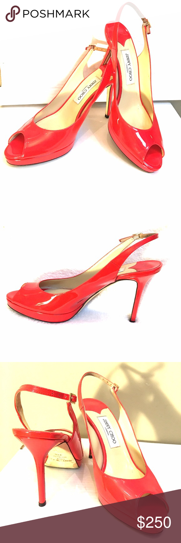 """Jimmy Choo Red Shoes Fire engine red, sexy,  open toe, 4"""" heel. Gently worn, very tiny nick on left heel. Jimmy Choo Shoes Heels"""