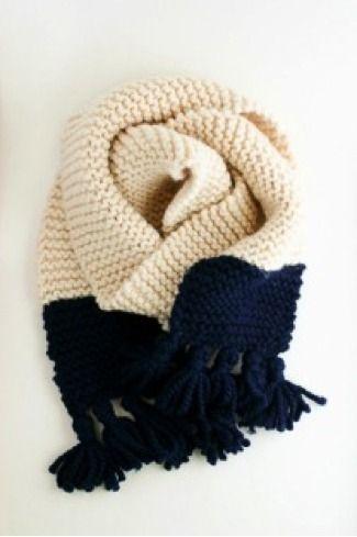 Tasseled Garter Stitch Color Block Scarf Pattern A Quick Cozy Knit