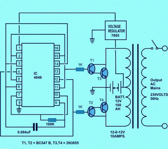 Circuit Diagram of Solar Inverter for Home Solar inverter Circuit