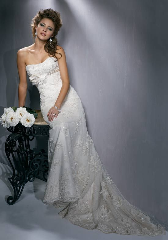 A-Line Strapless Floor Length Chantilly Lace/ Romance Satin Beading ...