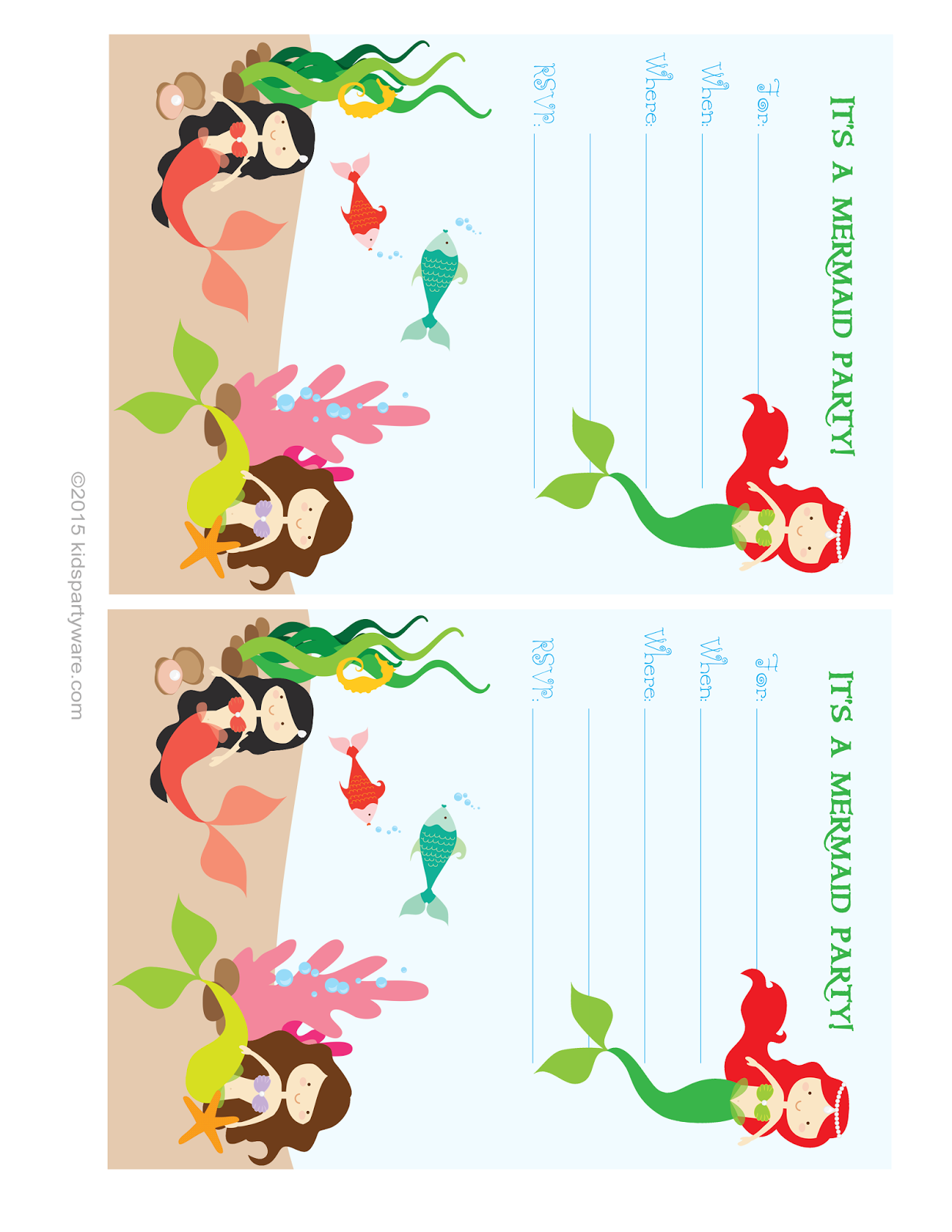 Kids Party Supplies Mermaid Invitation Free Printable Download