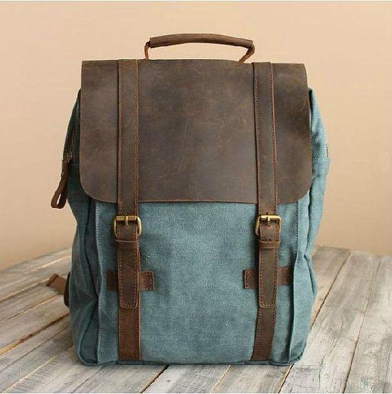 040cae8042 Blue Leather-Canvas Backpack   IPAD Bag   Laptop Bag   School Bag   Women s  and Men s Bag   Travel Bag   Unisex Backpack 1820 by skyleatherstudio on  Etsy