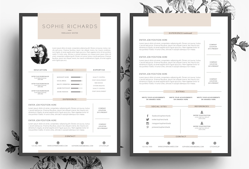 Resume  Cv  Business Card By EmilyS Art Boutique On