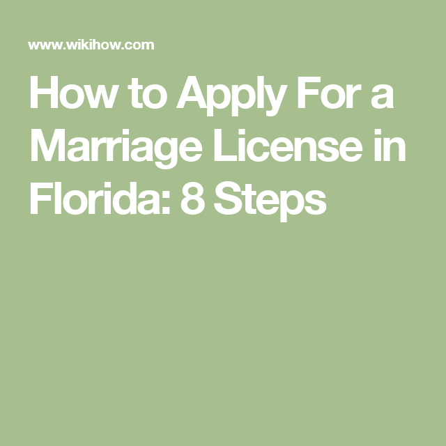 Apply For a Marriage License in Florida | Marriage license
