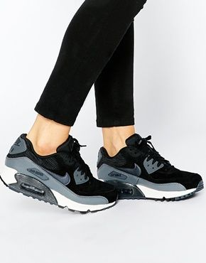 finest selection 94138 c7307 Nike Air Max 90 Black and Grey Trainers