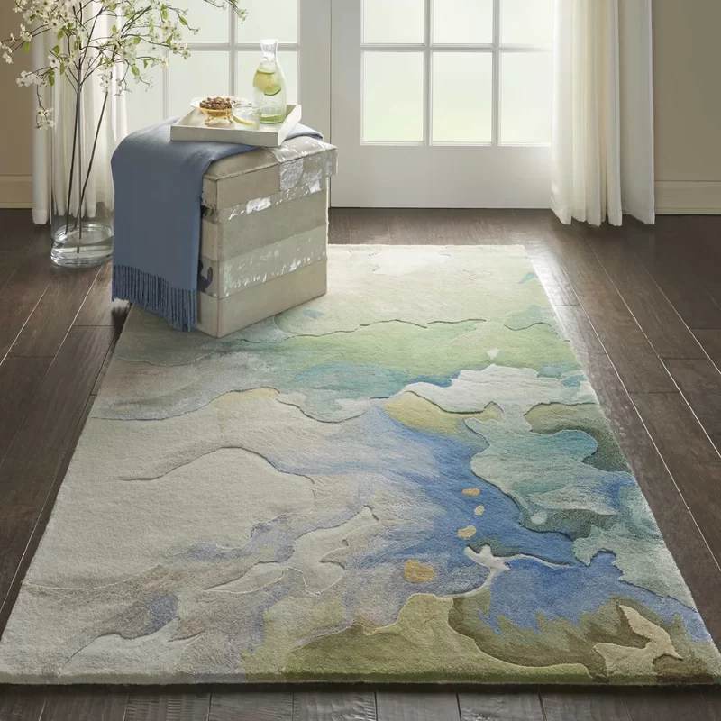 Emerie Abstract Hand Tufted Wool Blue Beige Area Rug Area Rugs Beige Area Rugs Rugs