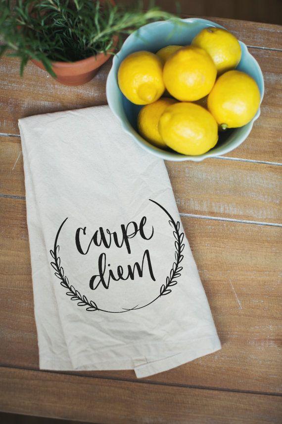 Carpe Diem Calligraphy Heirloom Quality Tea Towel By Allieruth