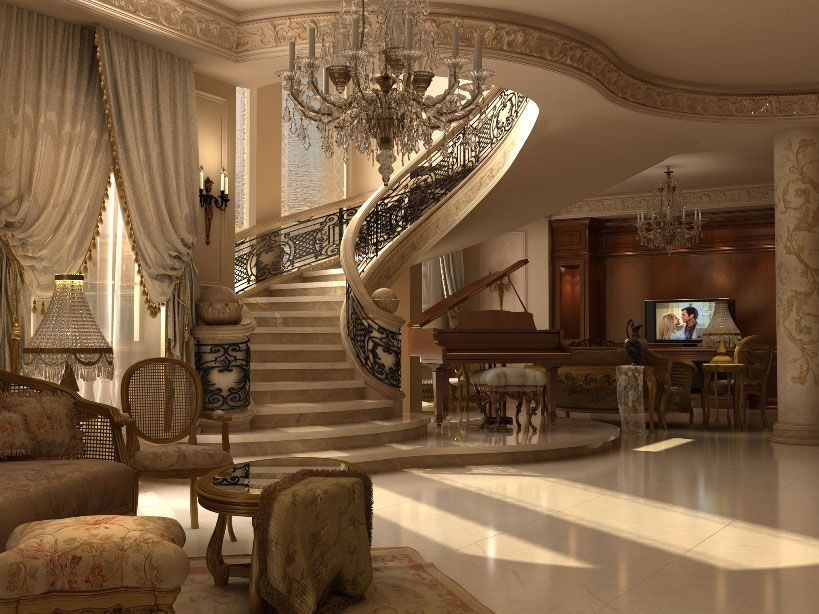 Ashraf el serafey villa interior and exterior design for Classic house furniture galleries