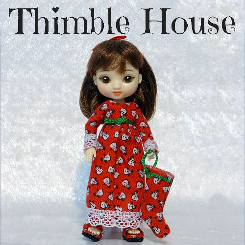 Amelia Thimble Nightgown Handmade Custom Couture: Sleepy Snowmen   ThimbleHouse - Dolls & Miniatures on ArtFire
