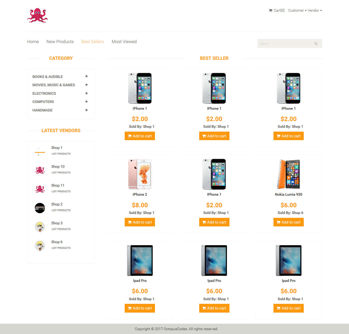 OctopusCodes - Ecommerce Multi-Vendor Shopping Cart in 2019