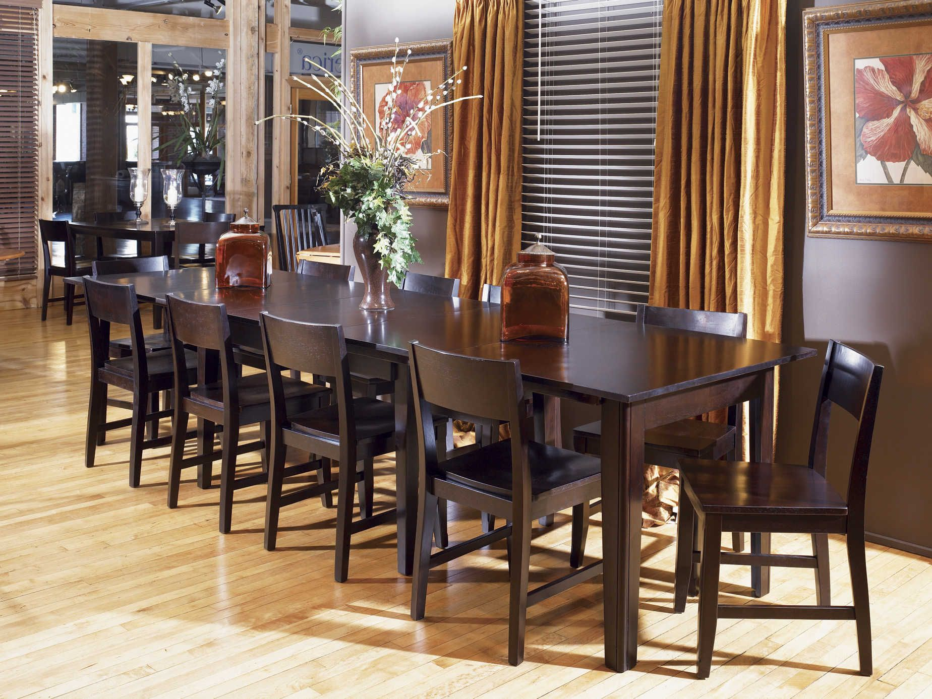 Accordion Leaf Dining Table Classic Rectangular Wood Dining Room