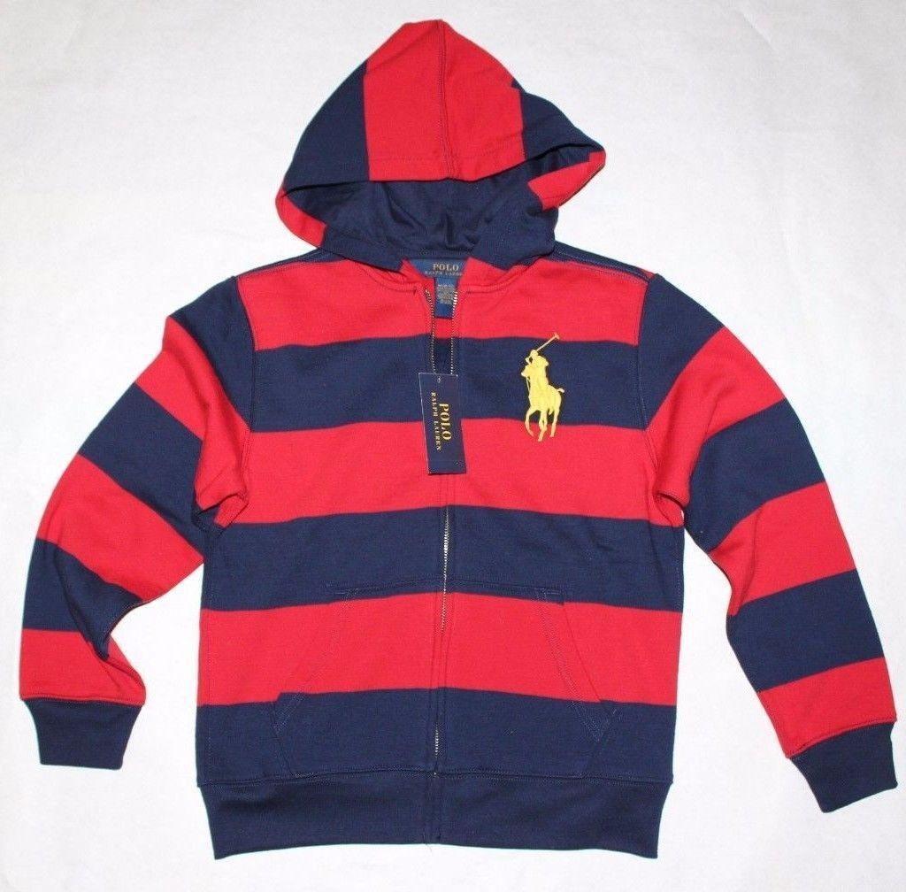dfe2701b7 Sweatshirts and Hoodies 57916: New Polo Ralph Lauren Boys Full Zip Fleece  Hoodie Red Navy Striped Big Pony M -> BUY IT NOW ONLY: $35.99 on eBay!