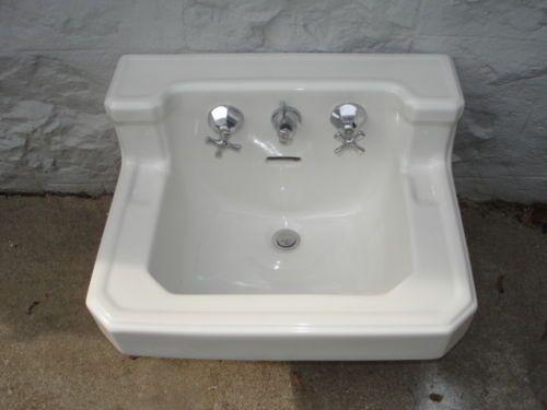 1950s American Standard Sink Ceramic Wall Mount Art Deco