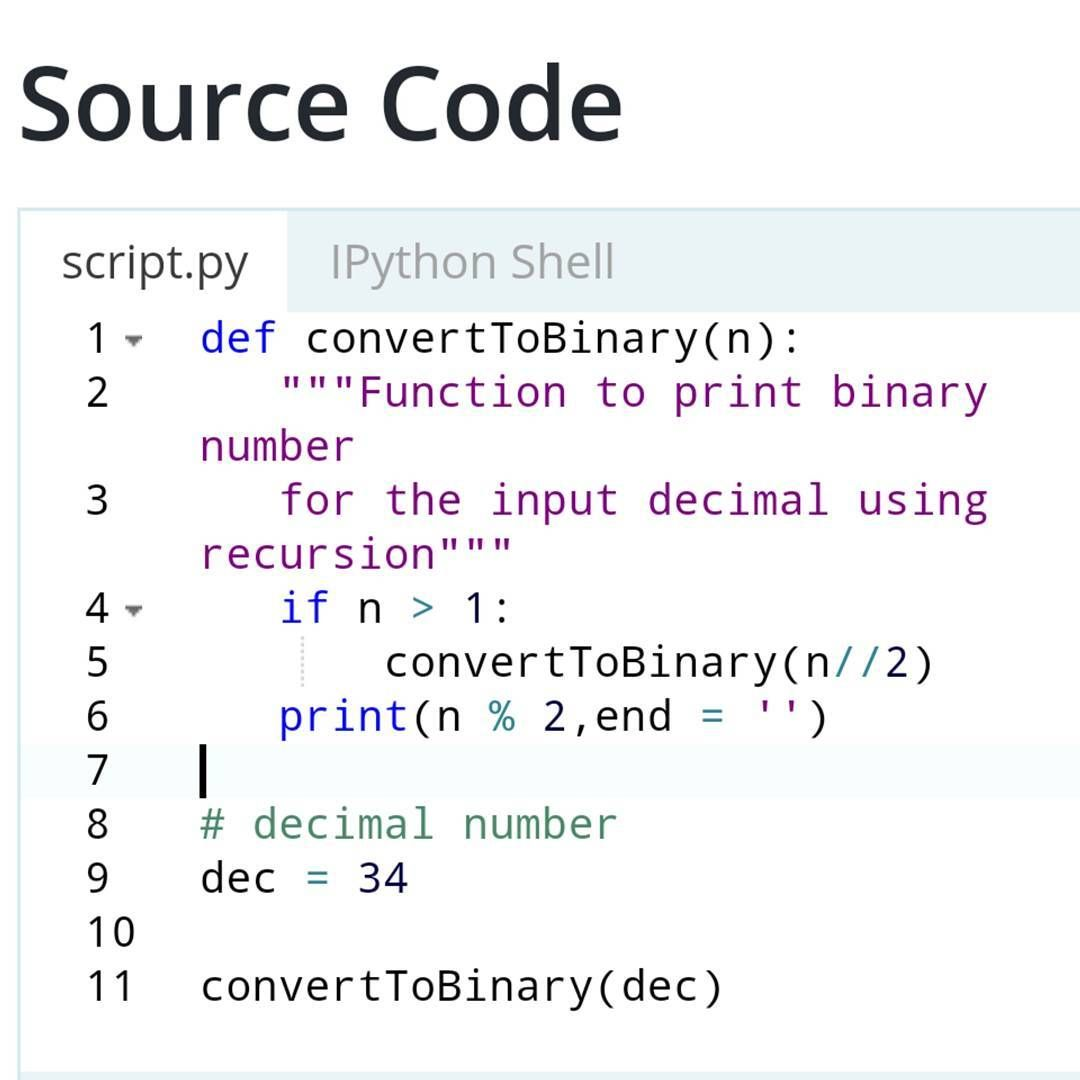 Convert Decimal To Binary Number In Python