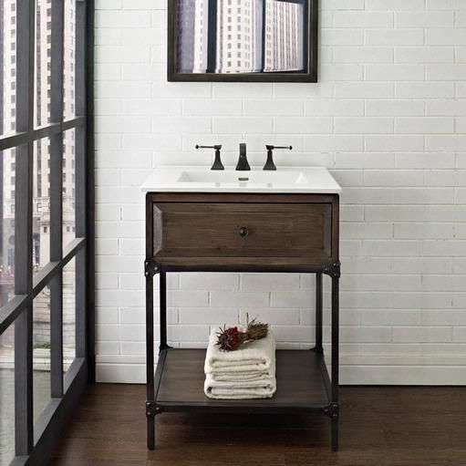 Website Picture Gallery Fairmont Designs Toledo Open Shelf Vanity industrial drfitwood gray vanities