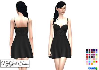 nygirl sims 4 lace corset flare dress solids and prints