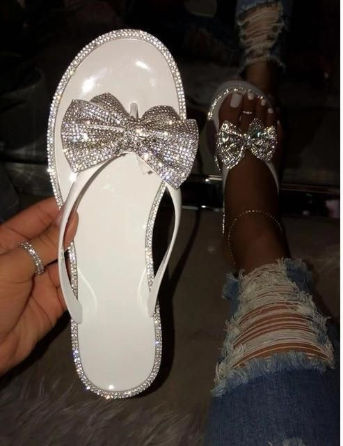 Flash Drilling Sequin Bow Flip-Flop Slippers – white / 6