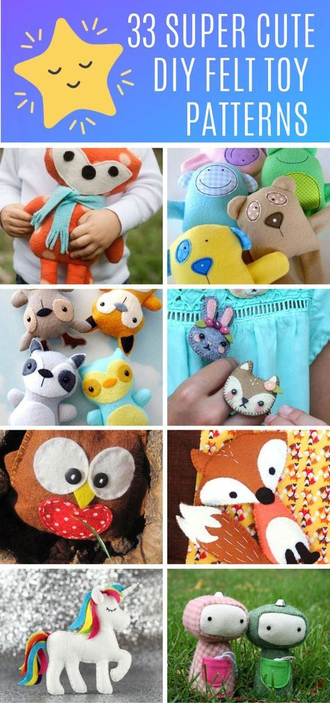 33 Super Cute Felt Toy Patterns Your Kids Will Love to Play With! You are going to love this collection of felt toy patterns! You'll find the sweetest plushies ever and lots to choose from. We've included free patterns and video tutorials too!
