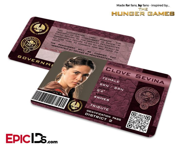 The Hunger Games Inspired Panem District 2 Identification Card Clove Sevina Hunger Games Crafts Hunger Games Clove Hunger Games