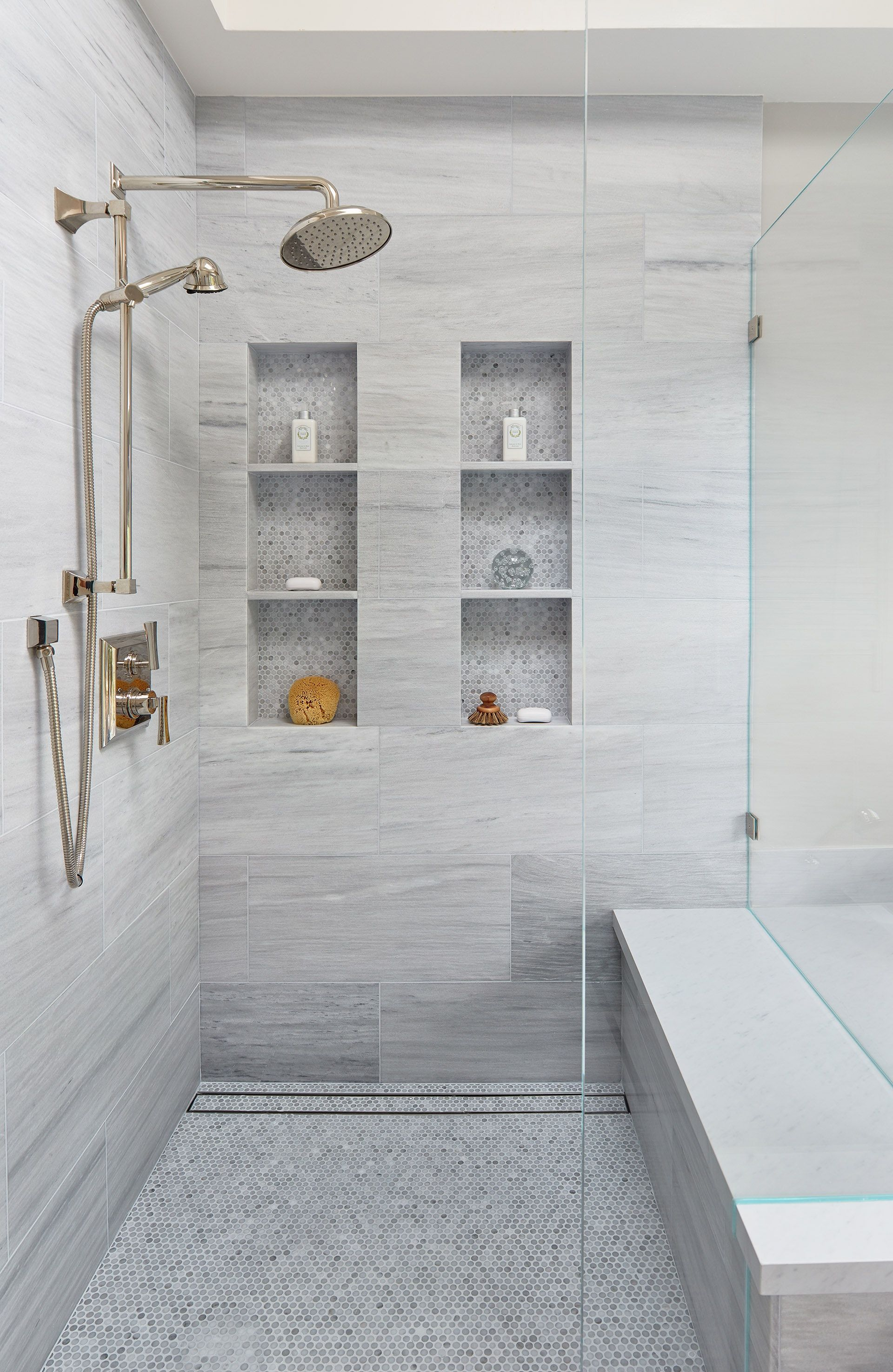 Cloud White Master Bathroom With Frameless Glass And Trench Drain Shower White Master Bathroom Modern Master Bathroom Bathroom Interior Design