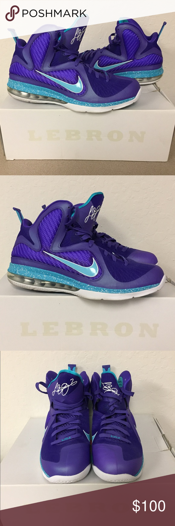 quality design 309d6 40112 Nike Lebron 9 Summit Lake Hornets Basketball Shoes Brand   Nike Color   Pure  Purple