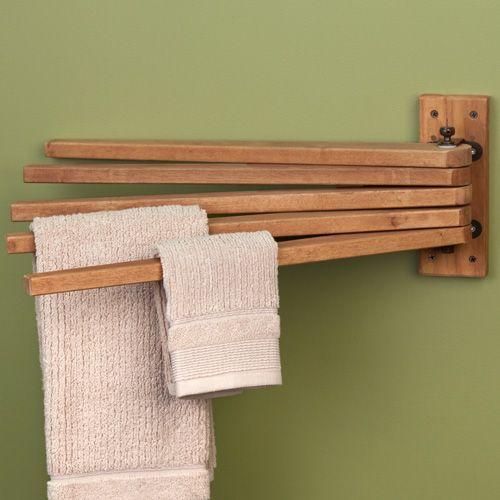 Teak Wood Swing Arm Towel Bar Bathroom Vanities Towel