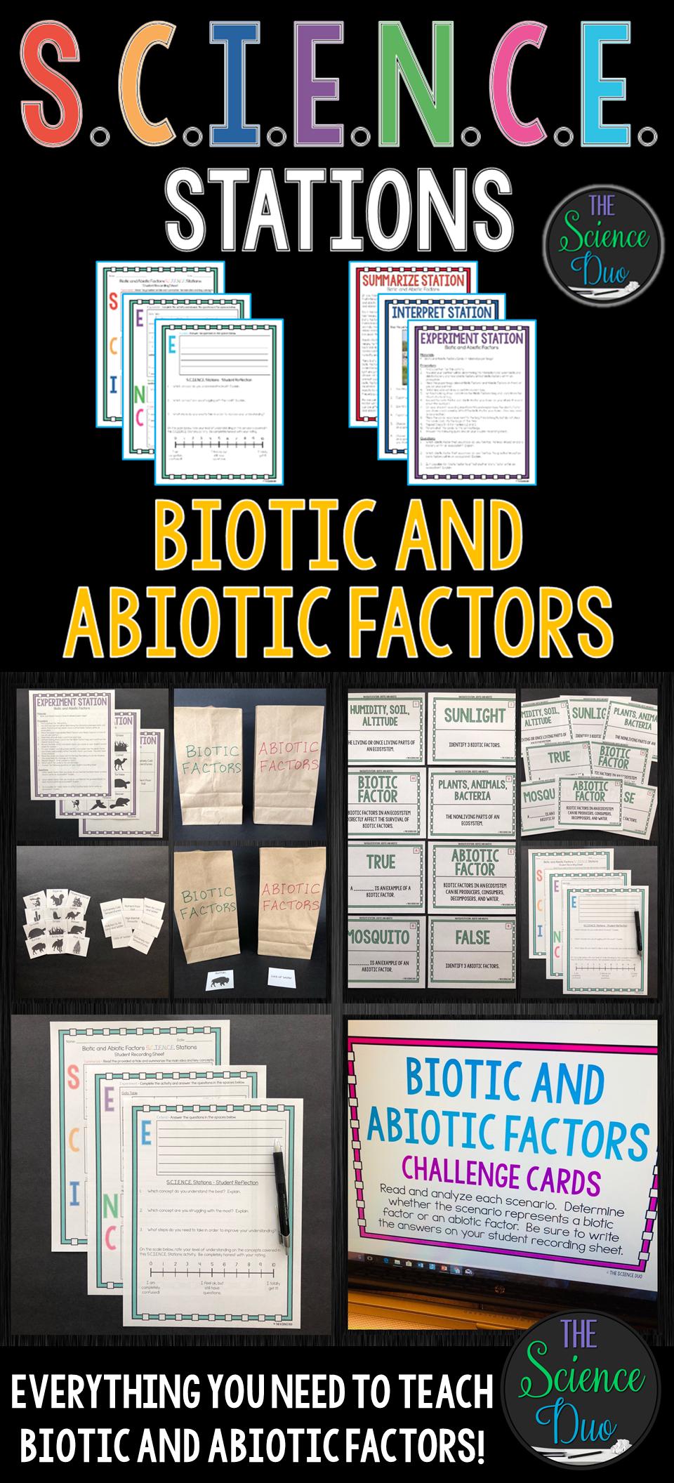 graphic organizer on biotic and biotic