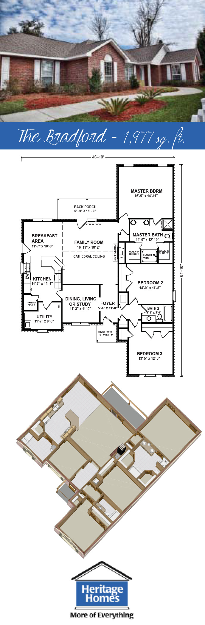 The Bradford Floor Plan 1 977 Square Feet 3bed 2bath Visit The Builder Heritage Homes To Learn More About This Floor Plans House Floor Plans House Plans