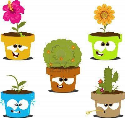 26f65 9603229 macetas de dibujos animados divertido con for Varias plantas en una maceta