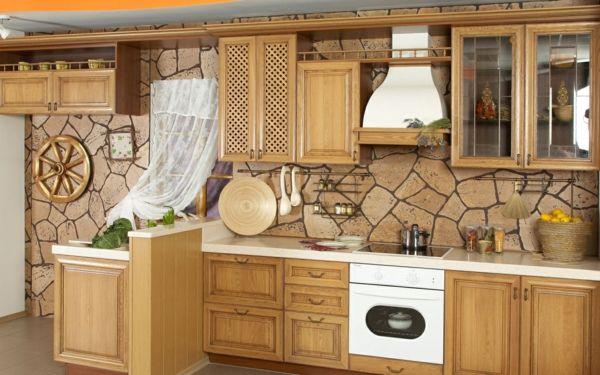 Küche Mit Steintapeten